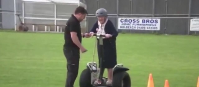 100 Year Old Lady Rides A Segway to Celebrate Her Birthday!