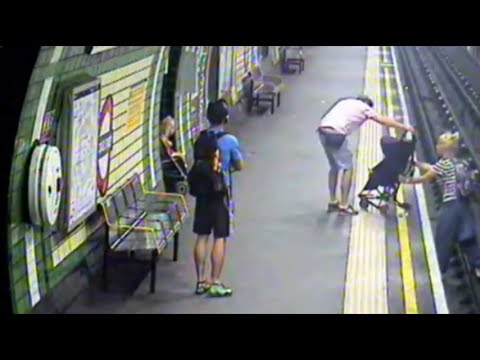 Child in buggy blown onto tube track