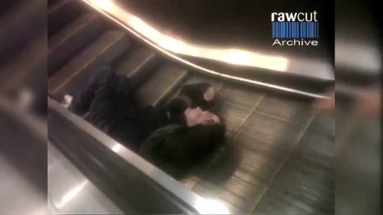 Drunk Man Escalator Fail