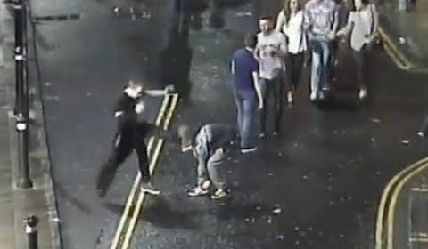 Yob kicks man in the face