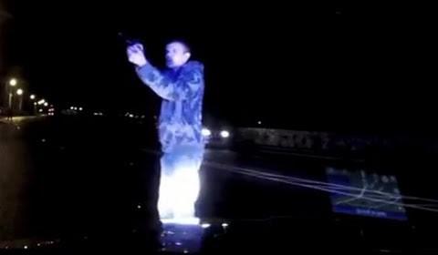 Man Points Gun at Police