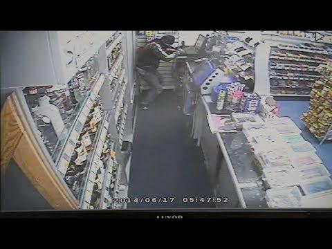 Thief cuts through wall of shop