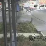 Two pedestrians cheat death at car crash