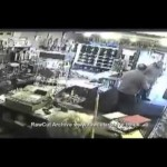 AMAZING MOMENT BRAVE SHOPKEEPER BRUSHES ASIDE BURLY KNIFE CROOK BY CHASING HIM OFF WITH A BROOM