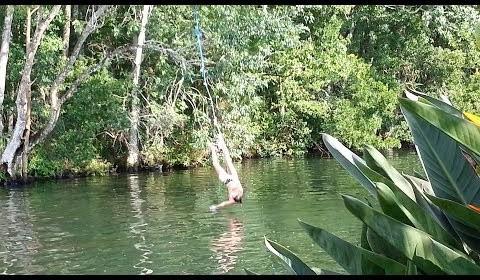 Bikini Girl Gets Crotch Burn From Rope Swing! FAIL