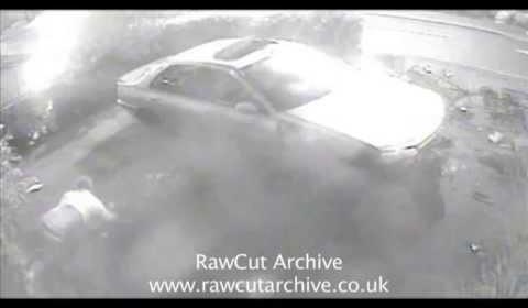 Car crash caught CCTV & man flips out through sunroof! OMG