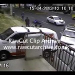 CAR TURN FAIL** motorcyclist flips over bonnet & face plants onto road