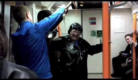 Drunk racist woman bottles eastern european man on London Overground /15N-PD2-011