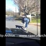 FAIL blonde falling off car!