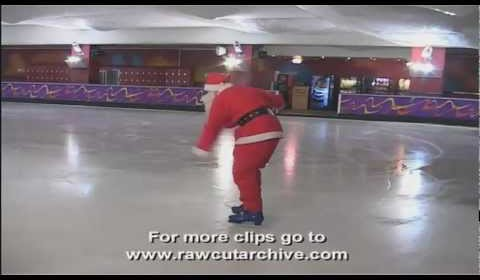 Santa Ice Skating FAIL