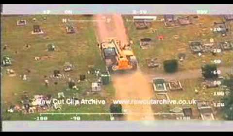 STOLEN JCB CRASHES THROUGH A GRAVE YARD – CAUGHT ON CAMERA