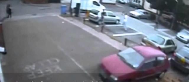 CCTV of driver ramming van into pedestrian before fleeing the scene